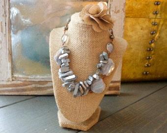 Quartz and Hematite Statement Necklace
