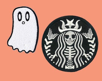 Halloween Patches Set Iron On Embroidered Patches Coffee Zombie