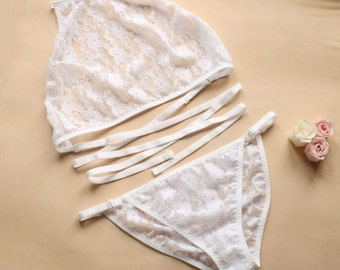 Sheer Lingerie Set - White Lace See Trough Lingerie Set - halter bralette white knickers