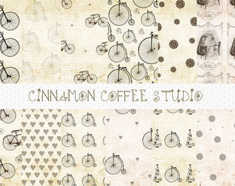 Bike Digital Papers, Vintage Bicycle Backgrounds, Retro Bike Patterns, High Wheel, Bicycle, Vintage Backgrounds - set of 12