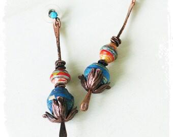 Boho Beaded Stick Earrings, Gypsy Stacked Bead Earrings, Bohemian Earrings for Women, Boho Drop Earrings, Long Tribal Earrings