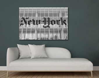 New York photography print or canvas, black and white NYC wall art, New York home decor, New York Times art photography