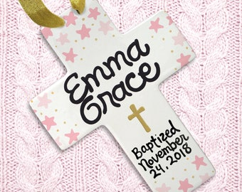 Baptism Gift - Dedication Gift - Personalized Cross - Gold Cross - Baptism - Stars - Cross with Stars - Goddaughter - Christening Gift