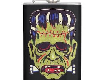 Halloween Frankenstein Mask alcohol hip flask