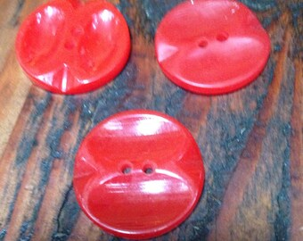 Vintage cherry red bakelite buttons