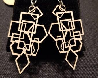 Carved Wood Openwork Pierced Vintage Earrings