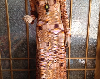 70s Long Ikat Print Dress