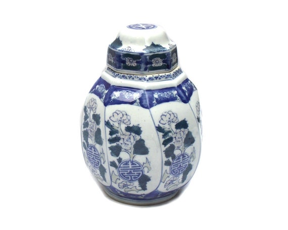 """9"""" Tall Vintage Chinese Ginger Jar in Octagonal Shape"""
