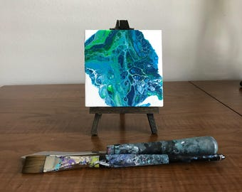 Seascape, Mini Canvas with Easel, Acrylic Painting, Ocean Painting, Mother's Day Gift, Coastal Decor, Abstract Art, Acrylic Pour Painting