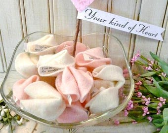 Felt Valentine Fortune Cookies PDF Pattern - primitive old Heart Ornies vintage bowl filler sayings included