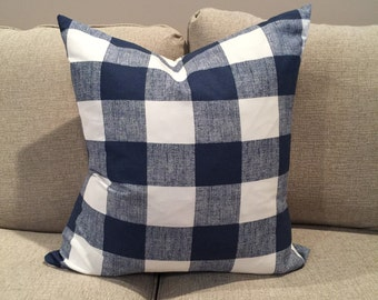 Navy Buffalo check pillow cover -Navy Gingham - navy plaid pillow - navy and white gingham- indigo blue pillow - 20 x 20 inch