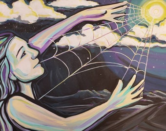 """Spider Woman~ Original acrylic painting on 28"""" x 22"""" canvas"""