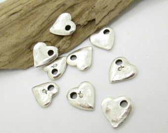 Small Silver Pewter Heart Charm or Dangle, Mykonos Silver Casting Heart, 10mm (10)
