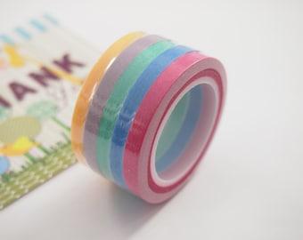 5 rolls Washi Masking Tape - rainbow
