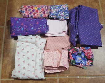 Lot of Pink and Purple Floral Fabric Scraps