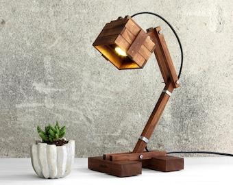 Steampunk Lamp, Industrial Desk Lamp, Industrial Style, Wooden Lamp,  Bedside Lamp,