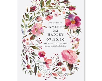 Save the Date Cards, Save the Dates, Floral, Watercolor, Wedding 5x7 Cards