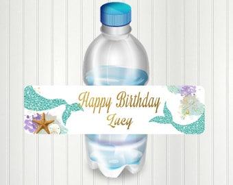 Mermaid Water Bottle Label, Party, Mermaid, Mermaid Bottle Label, Mermaid Party. Birthday, Water Bottle Label, Shower