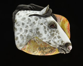 XXL. Challenger - Dapple Grey Thoroughbred Horse - Flamework Glass Focal Pendant Bead - Sculpture