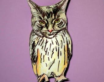 Custom Meowl Portrait, Custom Cat Portrait, Cat lover gift, Custom cat art, cat illustration, owl art