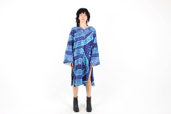 90s Blue Tie Dye Loose Flared Long Sleeve Cotton Gauze Sheath Kaftan / Kimono Midi Dress by Etsy