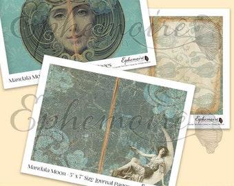 Printable Journal Kit Art Nouveau MANDALA MOON - Celestial Theme - 5x7 Papers - Journal Insert - Collage - Journaling - Scrap - Junk Journal