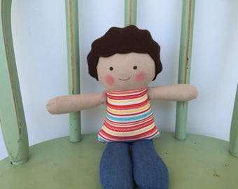 Handmade little boy rag doll perfect size for small hands.