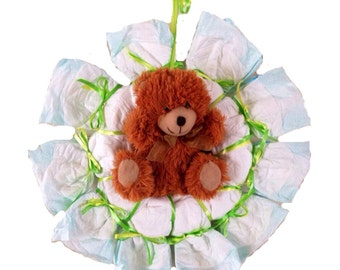 Baby Shower Diaper Wreath- Teddy Bear Boy or Girl, Gender Neutral Green and Yellow Diaper Wreath, baby shower decoration, baby shower gift
