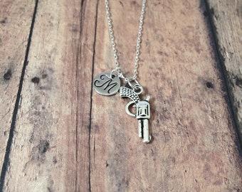 Gun initial necklace - gun jewelry, revolver necklace, pistol necklace, cowboy jewelry, handgun necklace, silver gun pendant, pistol jewelry