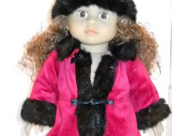 Red and Black Coat for 18 in Doll