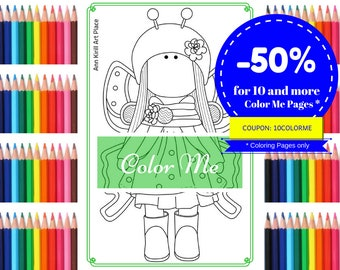 Color Me Doll, Coloring Page, Girl Digital Stamp, Fabric Doll Digi, Kids Coloring Book Family Coloring Art Doll to Color Butterfly by Olga G