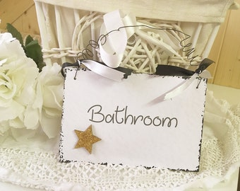 Wooden Sign Bathroom Glitter Star
