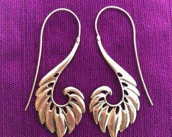 Winged Feather Hook Earrings in Brass
