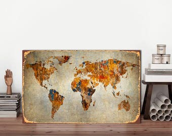 World map sign, World Map, Metal sign, Rustic world Map, Map metal sign, Map of the world, Map Sign, World map Vintage, Vintage World map