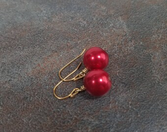 Red Earrings, Pearl Earrings, Gold, Red, Red Bead Earrings, Wire Wrapped Earrings, Christmas, Ball Earrings, Red Drop Earrings