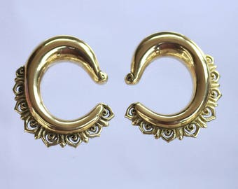 Brass ear weights, bali style carvings
