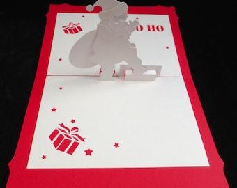 Pop Up Card Pop-Up 3D Christmas Greeting Santa Kirigami Origami Happy Holidays Seasons Greetings Winter Merry Bright Ho Ho Ho Gifts Cheers