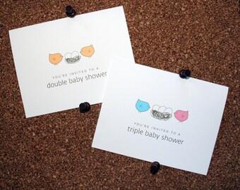 Set of 10 / Baby, Twin, Triplet, Multiple Shower Invitations / Bird / Twin Boys / Twin Girls / Boy & Girl Twins / Eggs in Nest