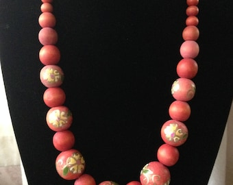 Hand Painted Wooden Bead Necklace [SKU104]
