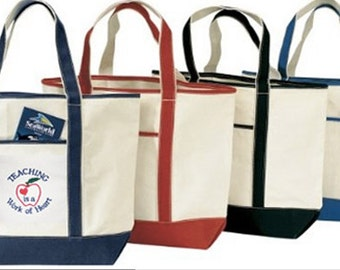 Embroidered Teacher Tote Bag