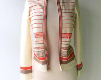 1970s Knit Open Cardigan // Orange, Cream, and Tan // Size Small