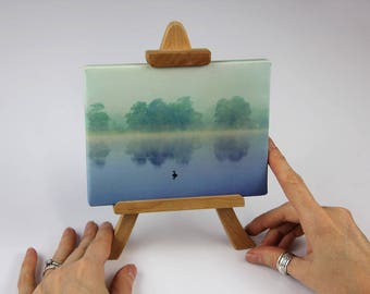 """Easel Art   """"You Are Not Alone""""   Canvas Print on Stand   Nature Photography      Dawn Mists with Reflection   Morning Swim   Mini Canvas"""