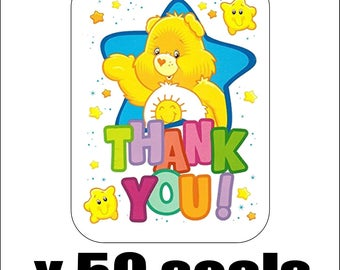 """50 Care Bears Funshine Thank You Envelope Seals / Labels / Stickers, 1"""" by 1.5"""""""