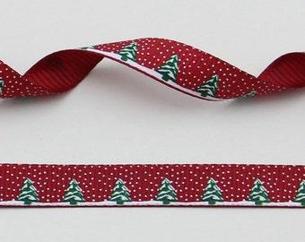 "Christmas Tree and Snow Burgundy 10 mm 3/8"" Grosgrain Ribbon"
