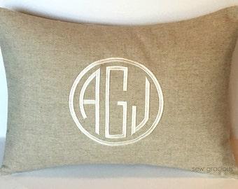 Natural Linen Circle Monogram Pillow Cover made to fit a 12x16 Throw Pillow Insert. Farmhouse Decor. Wedding Gift. Dorm Decor.
