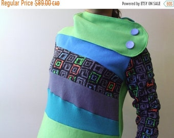 SPRING SALE Hoodie Sweatshirt Sweater Handmade Recycled Upcycled One of a Kind TOXIC Ladies X-Small - Neon 80s Funky Retro