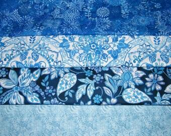 4 FQ Bundle – Bright Blue Floral 100% Cotton Quilt Craft Fabric Fat Quarters V6