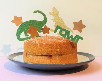 Set of green and gold dinosaur cake toppers, perfect birthday cake topper for a dinosaur party, pink dinosaur party decorations