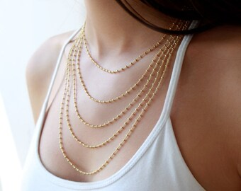Multi Layered Chain Necklace, Layering Jewelry, Gold Layered Necklace, Bridal Necklace, Wedding Jewelry