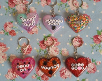 Pastel Goth Resin Conversation Heart Keyrings